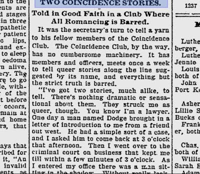 1899 newspaper coincidence club cutting
