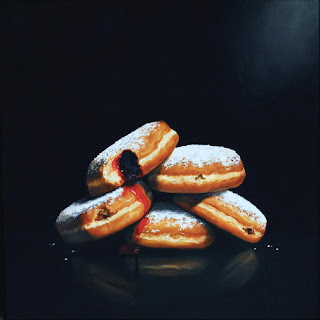realistic jelly donut painting by jeanne vadeboncoeur