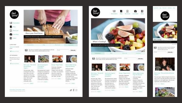 Tres imágenes de una misma web visualizada con tres anchos de pantalla diferentes. En la más anchas se ve a tres columnas, en la mediana a dos columnas, y en el tamaño de ventana más pequeño a una columna.
