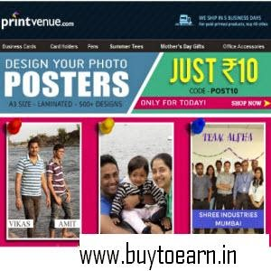 Printvenue: Buy Personalized Poster at Rs. 85
