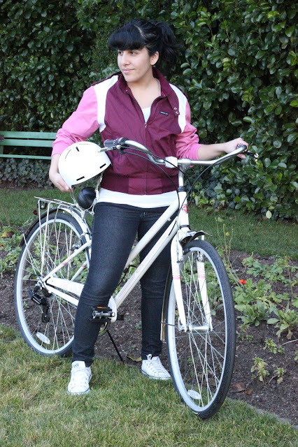 White and Pink Bike Outfit