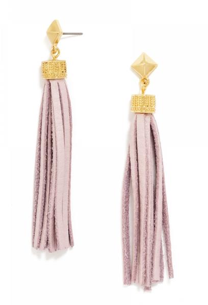 Bauble Bar leather tassel earrings in pink