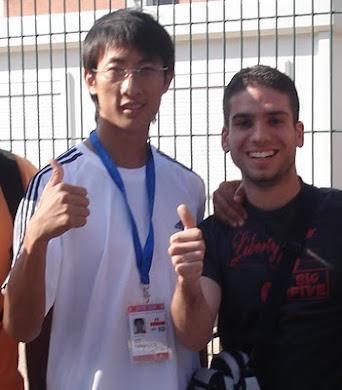 Miguel con Chu Mu Yen, Campeón Olímpico y del Mundo