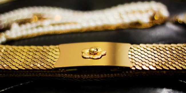 Vintage Gold belt, gold scales and elastic belt, vintage belt
