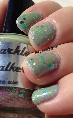 Paris Sparkles Celery Stalker swatch in sunlight