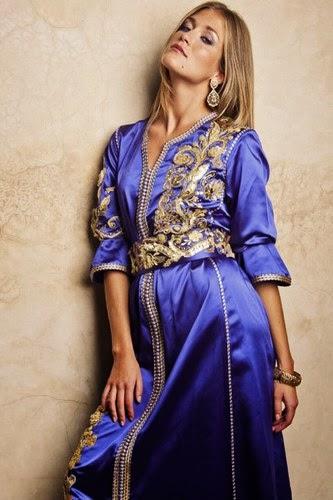 caftan bleu 2015 brodé
