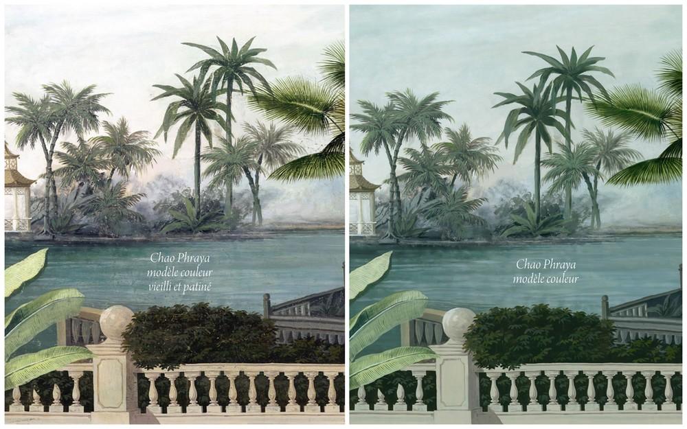 Oiseaux exotiques Papier peint panoramique en trompe l  - Papier Peint Paysage Exotique