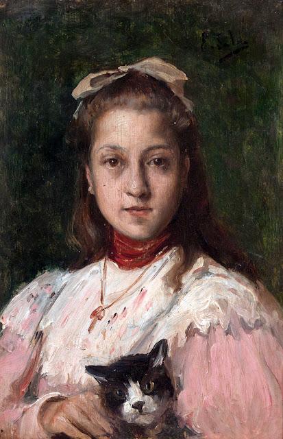 Emilio Sala Francés, Pintor Español, Joven con gato