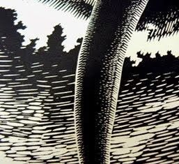close up of block print by Herschel Logan