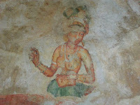 Lady Gaga would be happy look like ancient Lankan Ladies, painted on frescoes, Sigiriya, Sri Lanka