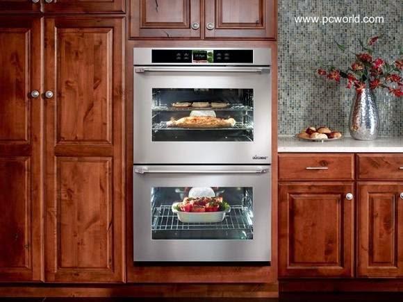 Horno doble de acero inoxidable para cocinas residenciales con funciones electrónicas vinculado a Android de Google