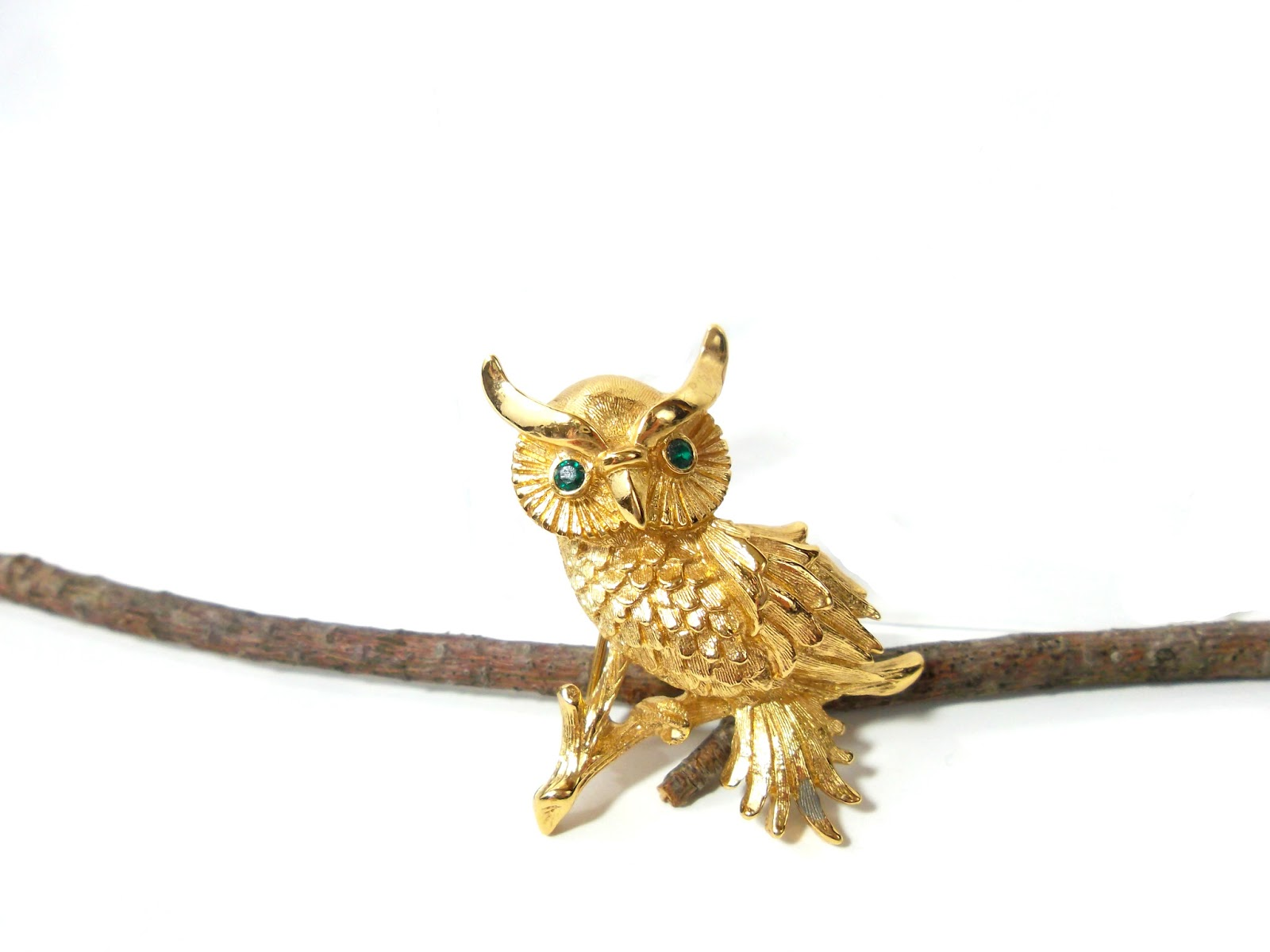 Monet Gold Owl Brooch