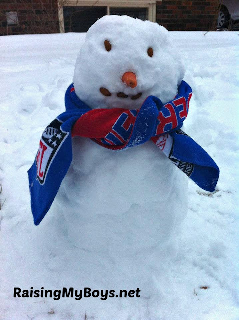 snowman with Buffalo Bills scarf
