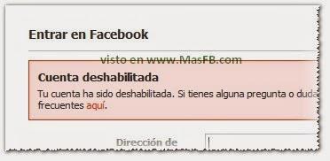 Facebook Inhabilitado o deshabilitado