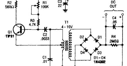 build a hv power supply with 9 to 15vdc input wiring diagram schematic