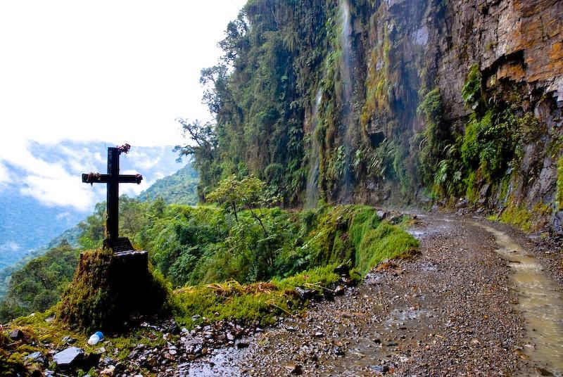 Death Road in the Yungas region of Bolivia, also called Grove's Road, Coroico Road, Camino de las Yungas and Road of fate. Leading from La Paz to Coroico, 56 kilometres northeast of La Paz in the Yungas region of Bolivia.