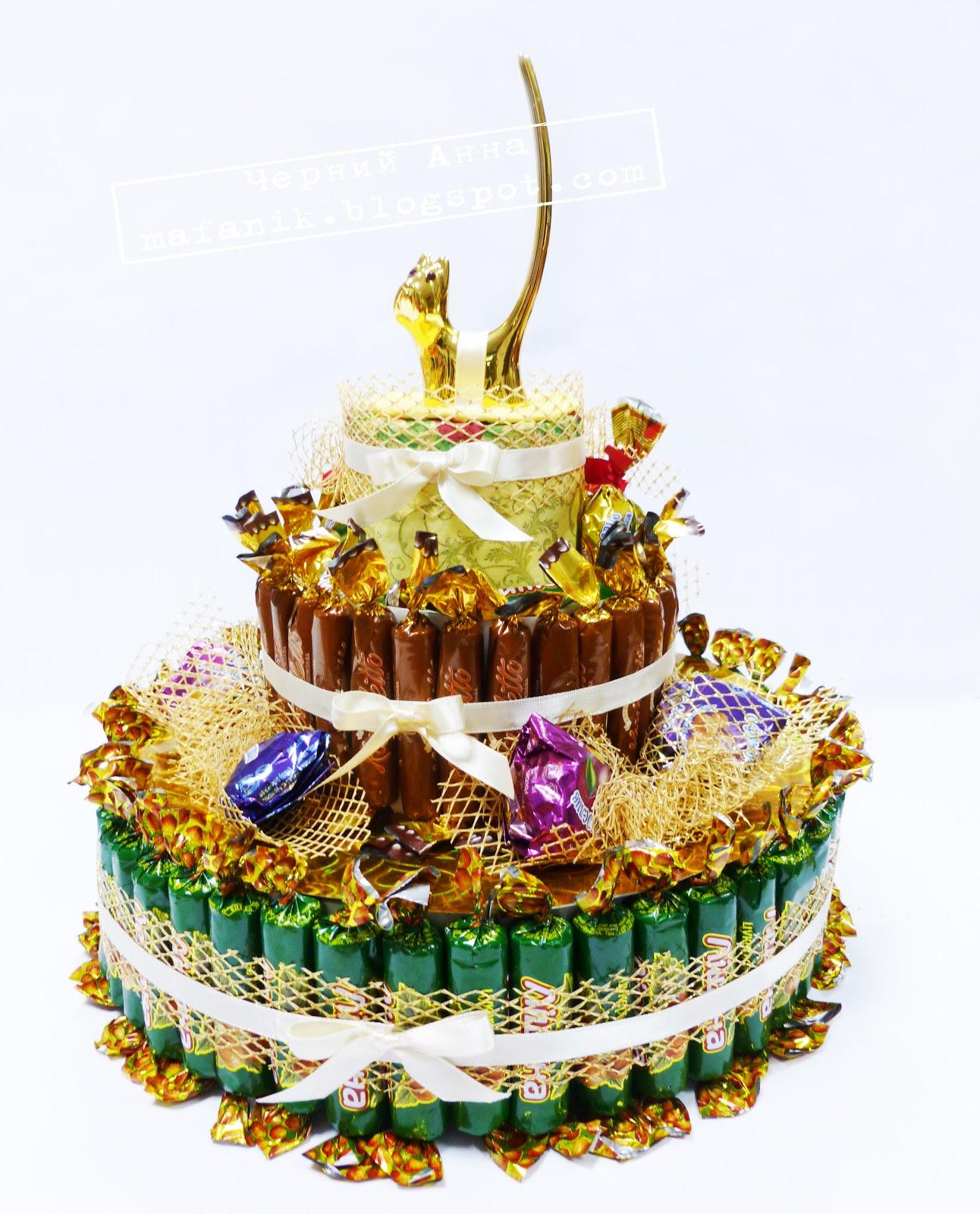 Торт из конфет к новому году из