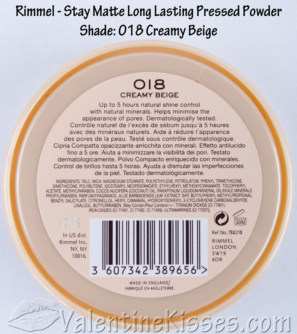 Valentine Kisses Rimmel Stay Matte Long Lasting Pressed Powder In London Shade 018 Creamy Beige