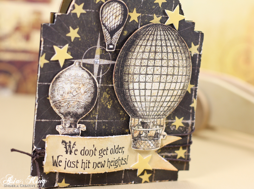 Vintage balloons starry sky card