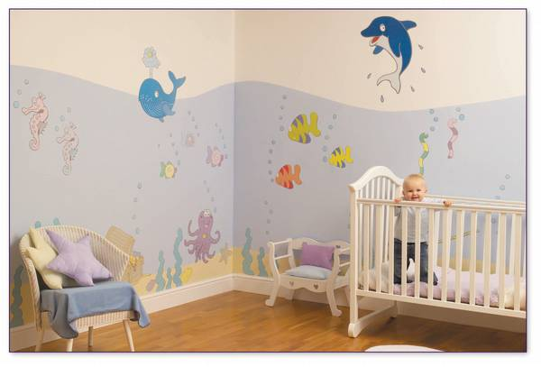 Themes for baby room for Baby room mural ideas