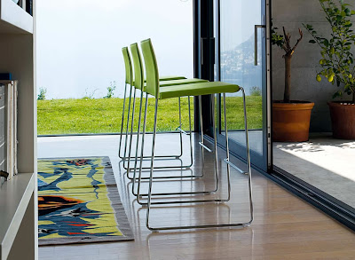 modern bar stools in green