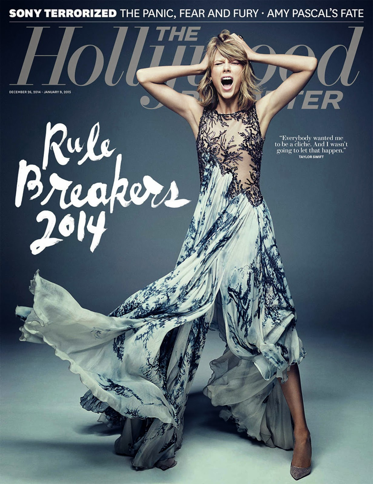Taylor Swift screams for The Hollywood Reporter cover December/January 2014/15