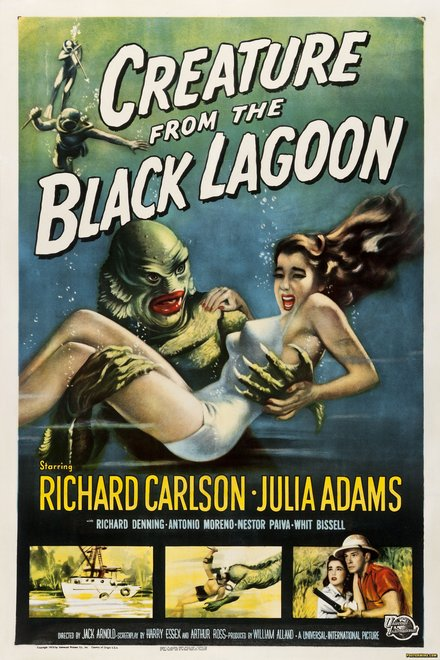printables, classic posters, free download, graphic design, horror movie, movies, retro prints, theater, vintage, vintage posters, Creature from the Black Lagoon, Richard Carlson, Julia Adams - Vintage Horror Movie Poster