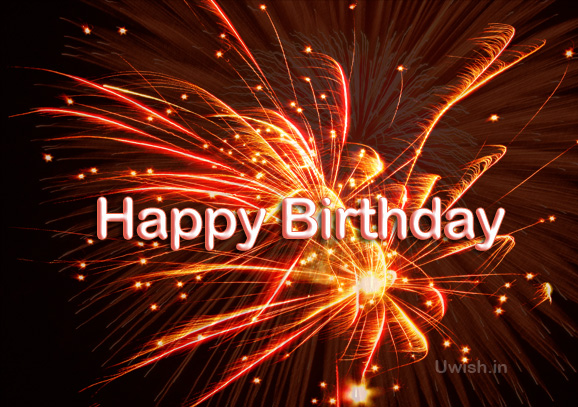 Happy Birthday e greeting cards and wishes with fireworks