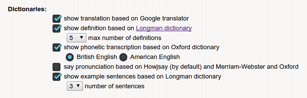 dictionaries options of English dictionary translate pronunciation google chrome extension