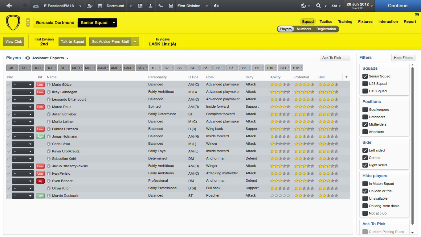Dortmund Midfielders
