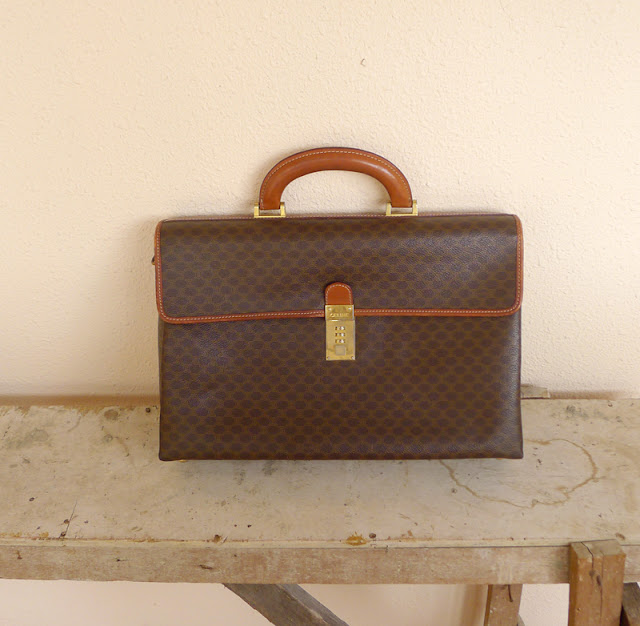 vintage celine leather attache portfolio