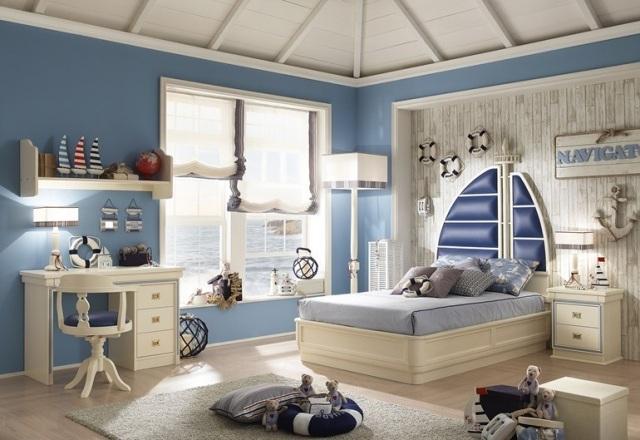 Dormitorio infantil estilo n utico colores en casa - Habitaciones infantiles marineras ...