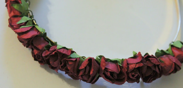 close up of completed DIY flower headband