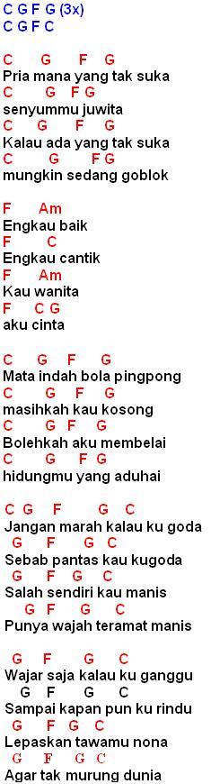 Lirik dan Kunci Gitar Mata Indah Bola Pingpong(Iwan Fals) | MyNotepat