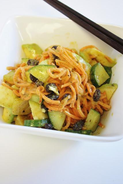 yam noodles with miso mustard sauce, avocado, cucumber & raisins ...