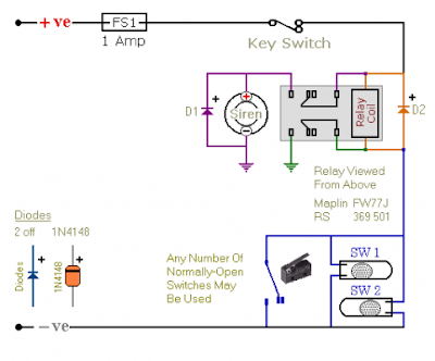 circuit diagram make relay based motorcycle alarm circuit diagrams