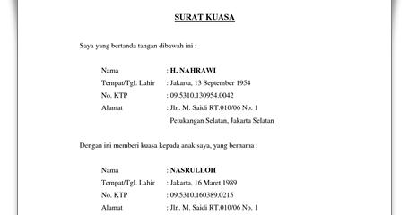 Contoh Surat Kuasa Pengambilan BPKB Sepeda Motor ~ Contoh ...