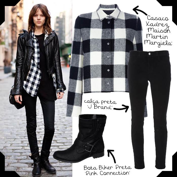I LOVE ROCK 'N' ROLL_estilo da Freja beha_Calça skinny preta_Calça j brand_casaco xadrez_casaco branco_bota com fivela