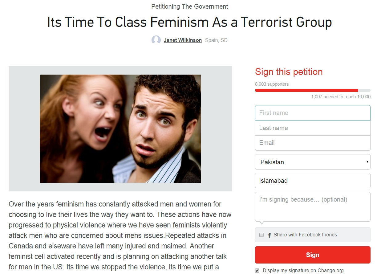 Petition asks to classify feminists as terrorists