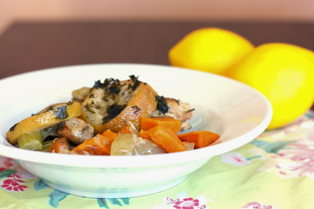Slow Cooker Lemon Sweet Potato Chicken: simplelivingeating.com
