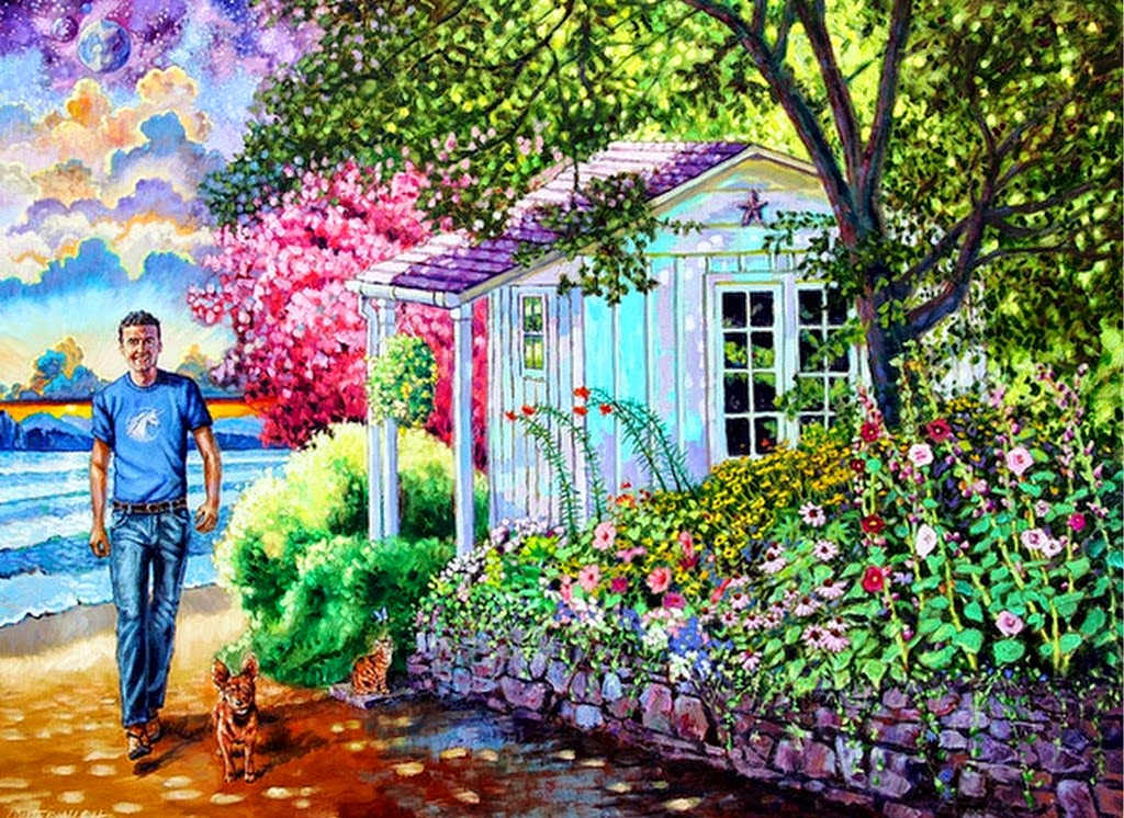 Pintura moderna y fotograf a art stica cuadros con for Jardin dibujo