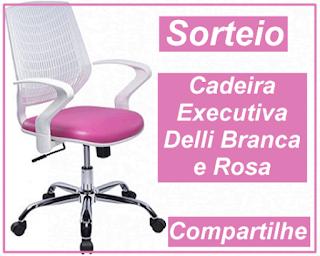 Participe do Sorteio de uma Cadeira Executiva Delli Branca e rosa