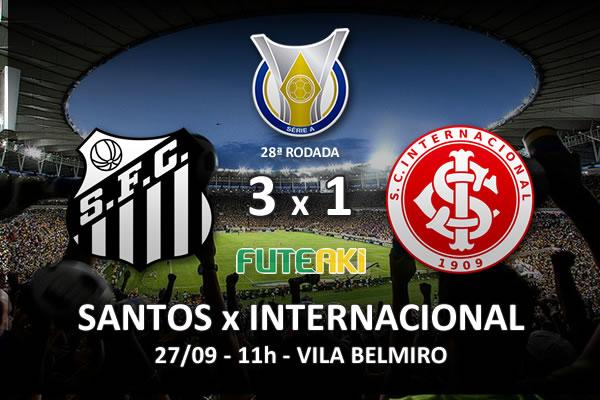Veja o resumo da partida com os gols e os melhores momentos de Santos 3x1 Internacional pela 28ª rodada do Brasileirão 2015.