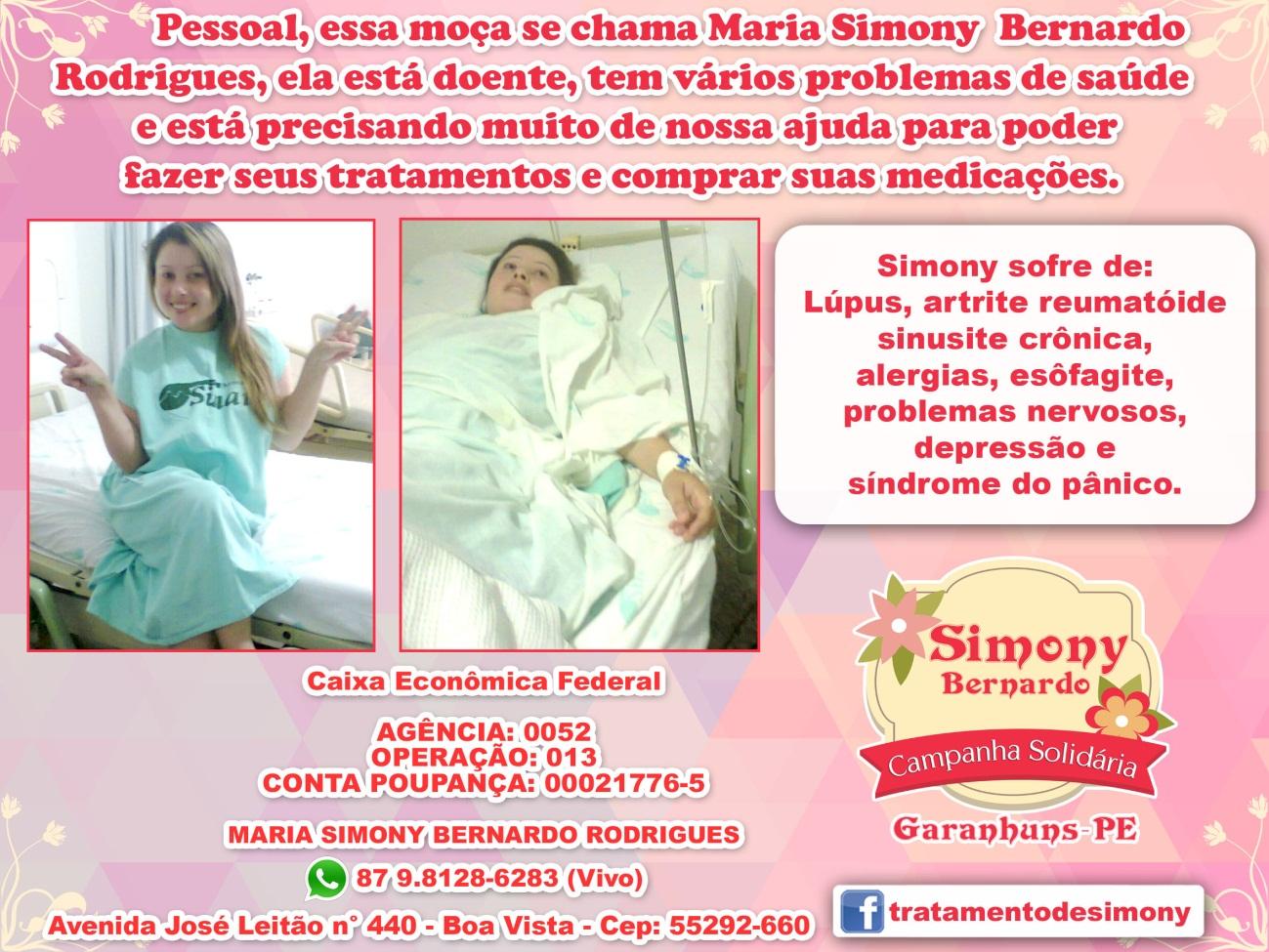 Campanha Solidária para ajudar a jovem Simony Bernardo Rodrigues