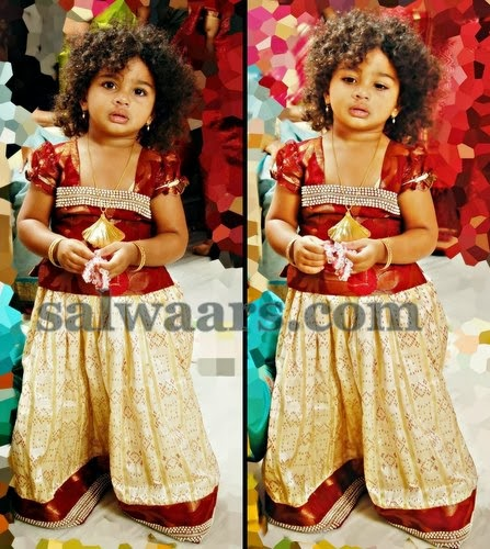 Pretty Baby in Cream Printed Lehenga