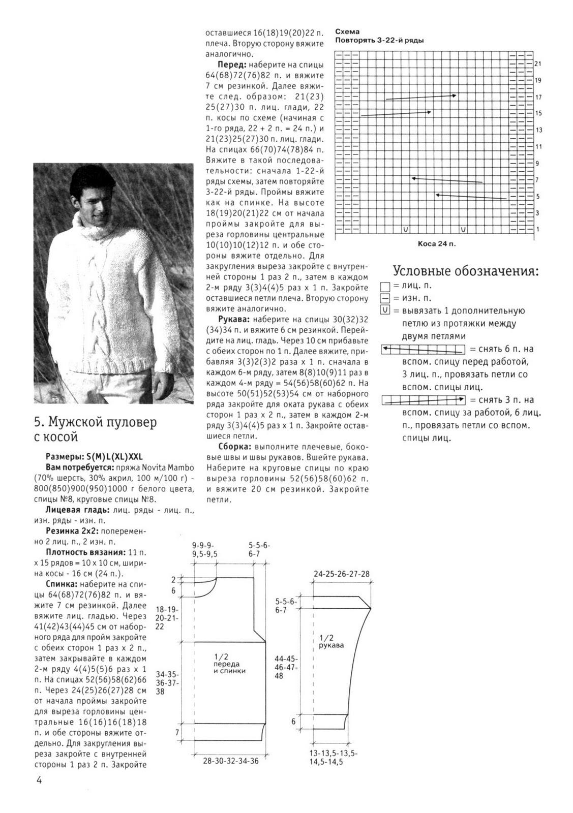 Вязание мужского свитера с косой