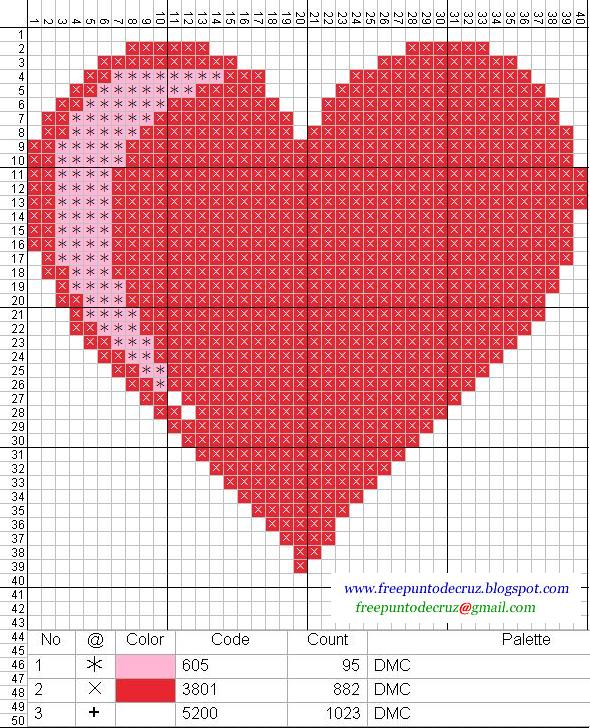 Corazón - punto de cruz