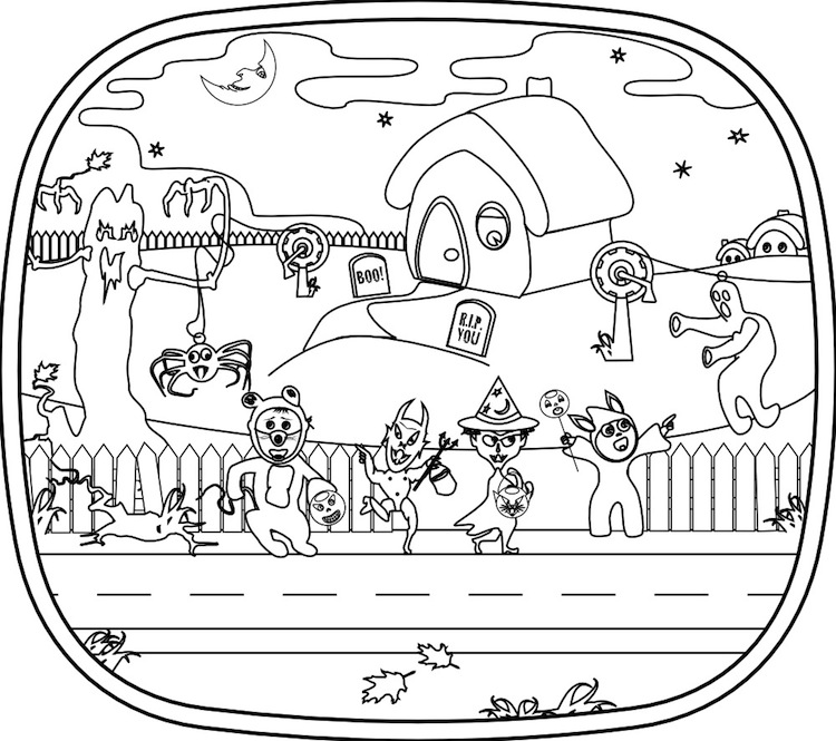 halloween scenery coloring pages - photo #11