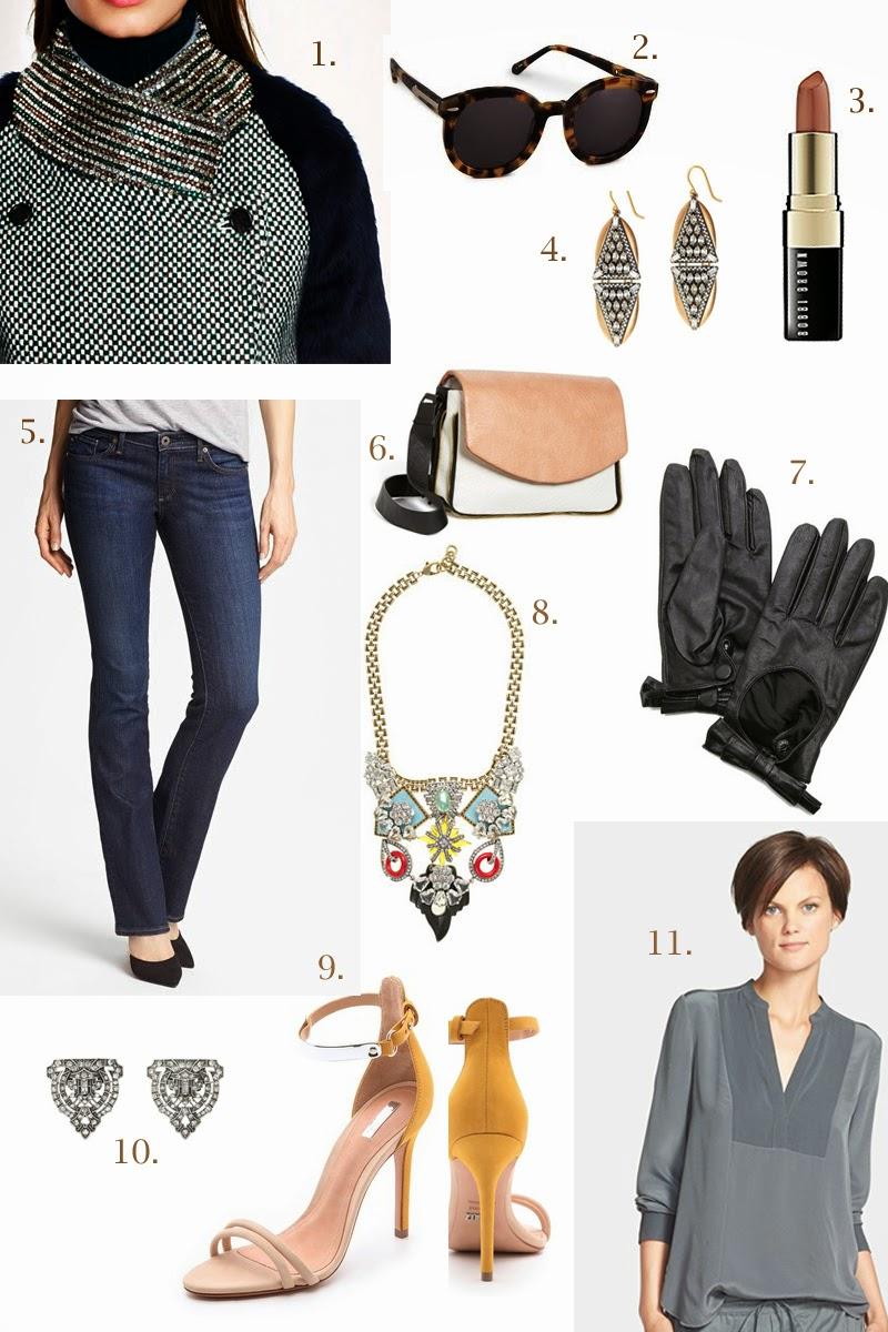 january-2014-fashion-trends-king-and-kind-blog-cravings-top-picks-jcrew-bobbi-brown-nude-baby-bootcut-jeans-schutz-colorblock-heels-karen-walker-sunglasses-lulu-frost-shoe-clips-leather-bow-moto-