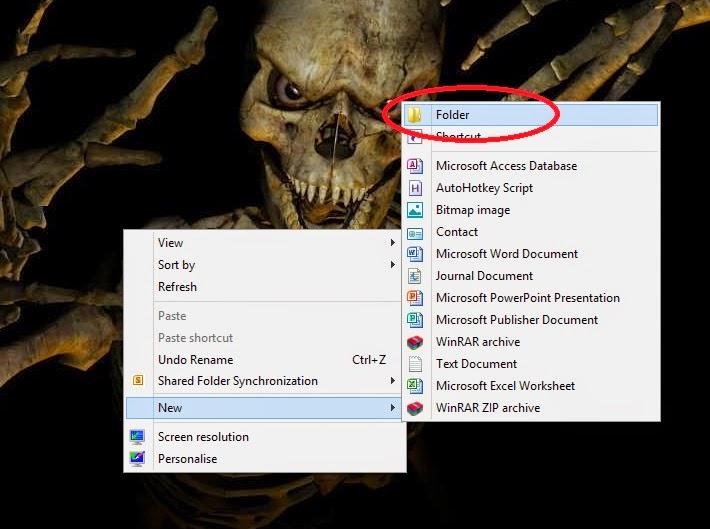 invisible folder windows 7